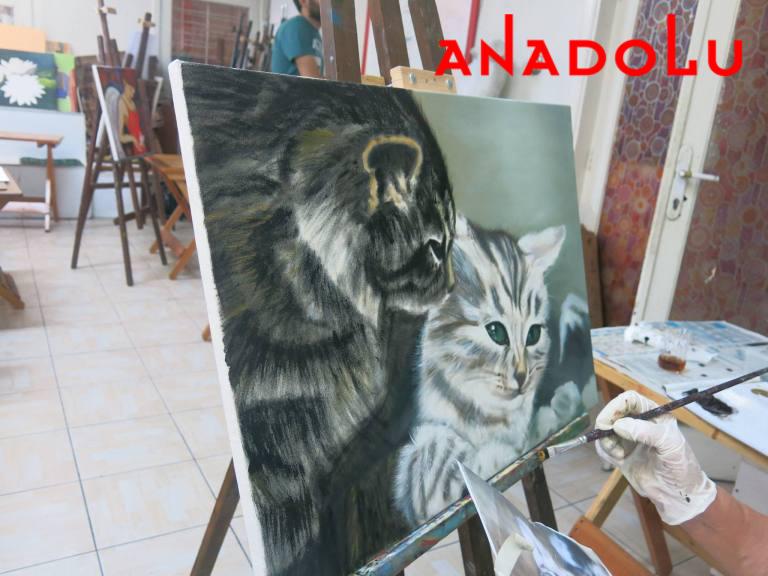 Yağlı Boya Hobi Dersleri Kedi Çizimi Gaziantepda
