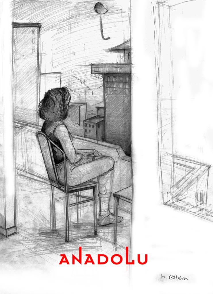 İmgesel Balkonda Oturan Kadın Çalışması Gaziantepda