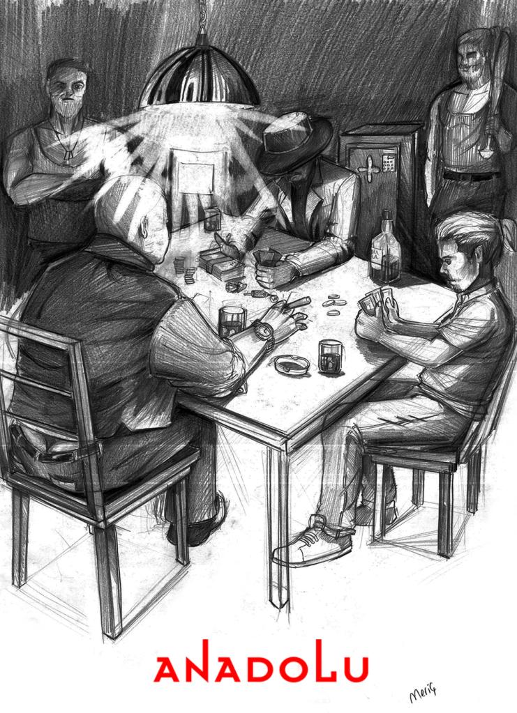 İmgesel karakalem kahvede oyun oynayanlar Gaziantepda