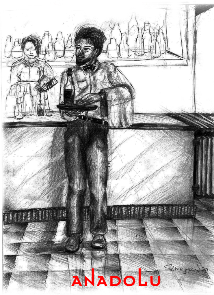 Karakalem Garson Çizim Örneği Gaziantepda