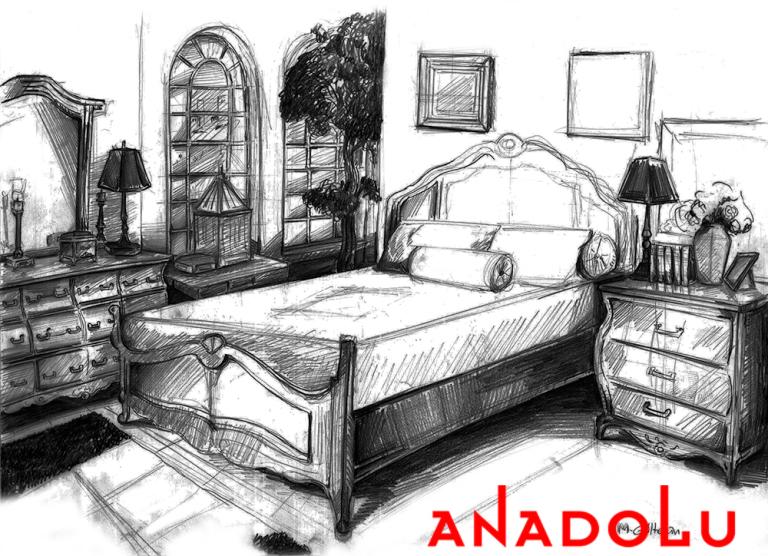Gaziantepda Bir Yatak Odası Çizimleri
